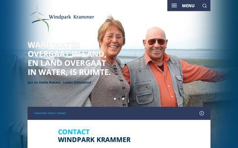 Screenshot of Contact Page windparkkrammer.nl - Contact - Windpark Krammer - captured Oct. 26, 2018