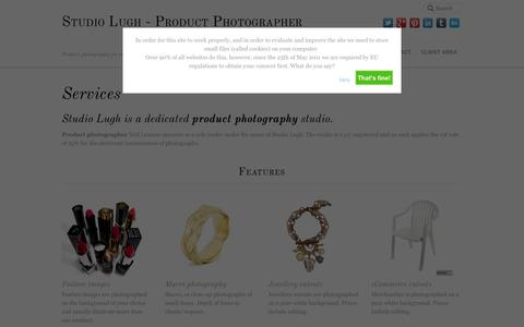 Screenshot of Services Page studiolugh.com - Services - Studio Lugh - Product Photographer - captured Oct. 9, 2014