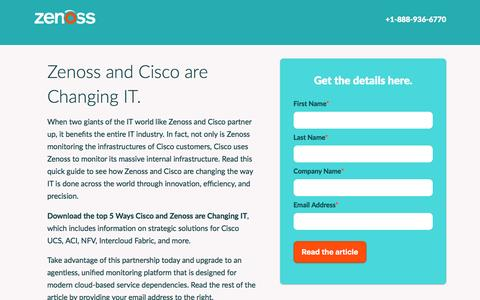 Screenshot of Landing Page zenoss.com - Zenoss | Own IT. - captured Sept. 6, 2016