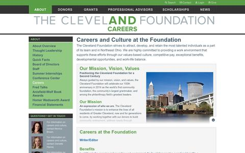 Screenshot of Jobs Page clevelandfoundation.org - Careers   The Cleveland Foundation - captured Sept. 13, 2014