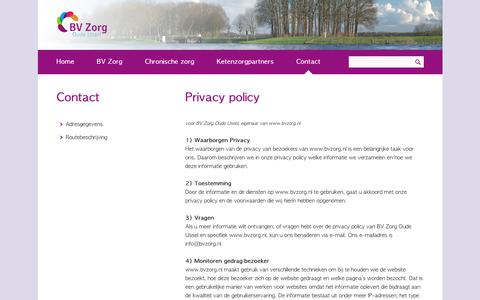 Screenshot of Privacy Page bvzorg.nl - Privacy policy - Contact - captured Oct. 5, 2018