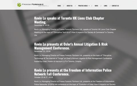 Screenshot of Press Page froeseforensic.com - Froese Forensic Partners Ltd. - News - captured Oct. 11, 2018