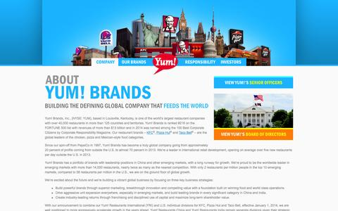Screenshot of About Page yum.com - Yum! Brands - Defining Global Company that Feeds the World - captured Sept. 19, 2014