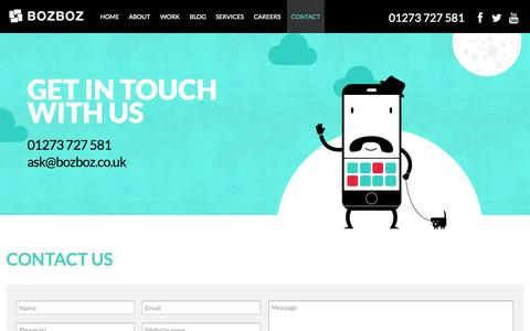 Screenshot of Contact Page bozboz.co.uk - Contact us: Email, Phone and Address details - Bozboz - captured Sept. 23, 2014