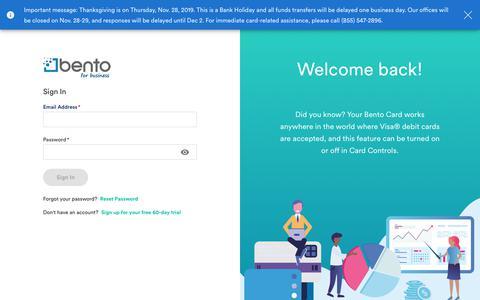 Screenshot of Login Page bentoforbusiness.com - Bento for Business - captured Nov. 23, 2019