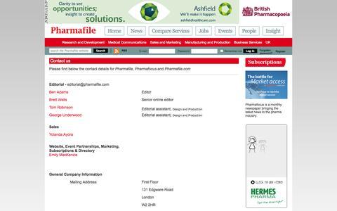 Screenshot of Contact Page pharmafile.com - Contact us | Pharmafile - captured Sept. 23, 2014