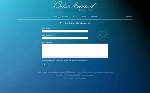 Screenshot of Contact Page cecilearnaud.com - Contact Cécile Arnaud   Cécile Arnaud - Jewellery - Paris - captured Oct. 2, 2014