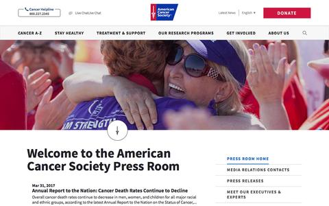 Screenshot of Press Page cancer.org - Welcome to American Cancer Society Press Room - captured April 1, 2017