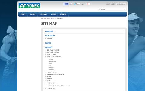Screenshot of Site Map Page yonex.com - YONEX - world leader in Golf, Tennis and Badminton - captured Nov. 4, 2014