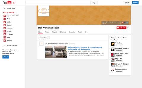 Screenshot of YouTube Page youtube.com - Der Wohnmobilpark  - YouTube - captured Nov. 3, 2014