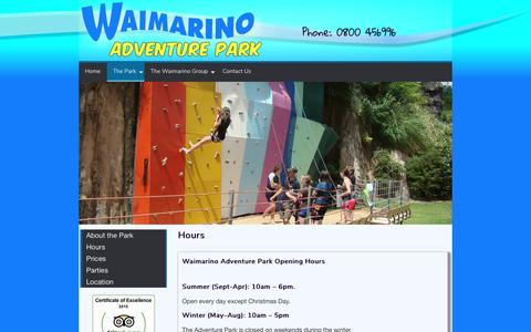 Screenshot of Hours Page kayaks.co.nz - Opening Hours – Waimarino Adventure Park - captured April 12, 2017