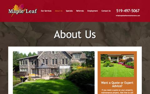 Screenshot of About Page mapleleaflawnmaintenance.com - About Us - Maple Leaf Lawn Maintenance - Kitchener Lawn Maintenance - captured Sept. 26, 2014