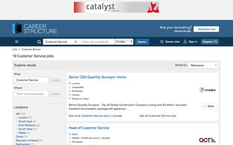 Screenshot of Support Page careerstructure.com - Customer Service Jobs, Careers & Recruitment - Careerstructure - captured July 16, 2017