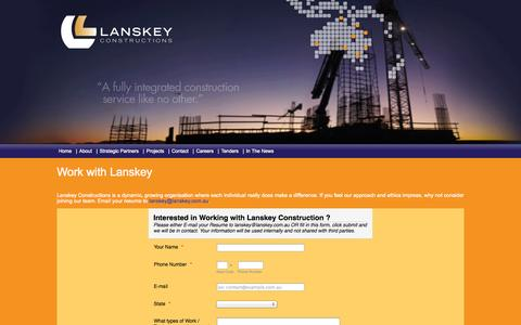 Screenshot of Jobs Page lanskey.com.au - Lanskey Constructions - captured Oct. 2, 2014