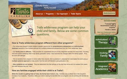 Screenshot of FAQ Page trailscarolina.com - Trails Wilderness Program | FAQs | Wilderness - captured Sept. 30, 2014