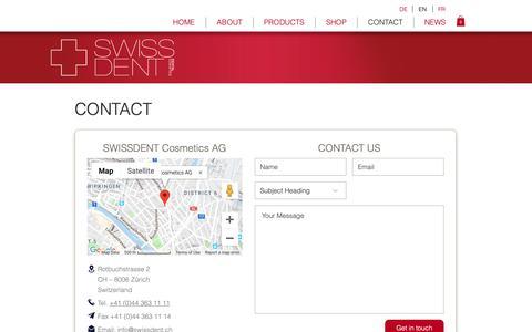 Screenshot of Contact Page swissdent.com - SWISSDENT | Contact - captured Dec. 11, 2018