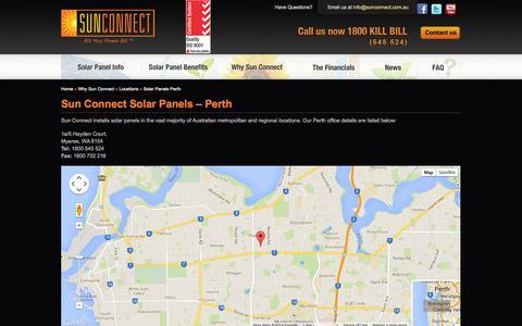 Screenshot of Locations Page sunconnect.com.au - Solar Panels Perth | Sun Connect Solar Panels - captured Oct. 7, 2014