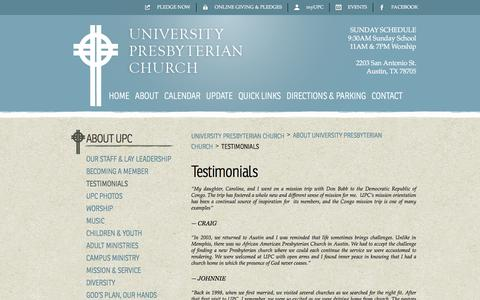 Screenshot of Testimonials Page upcaustin.org - Testimonials | University Presbyterian Church - captured Oct. 19, 2017