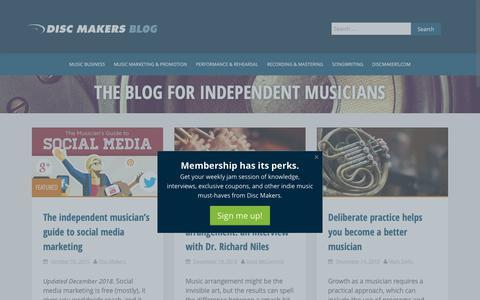 Screenshot of Blog discmakers.com - Music Promotion For Independent Musicians   Disc Makers Blog - captured Dec. 21, 2018