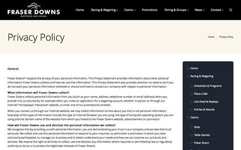 Screenshot of Privacy Page fraserdowns.com - Fraser Downs | Privacy Policy - Fraser Downs - captured Oct. 6, 2014