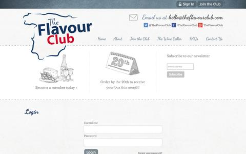 Screenshot of Login Page theflavourclub.com - Login   Unique Spanish Wines and Food   London   The Flavour Club - captured Oct. 7, 2014