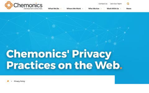 Screenshot of Privacy Page chemonics.com - Privacy Policy - Chemonics International - captured Oct. 27, 2017