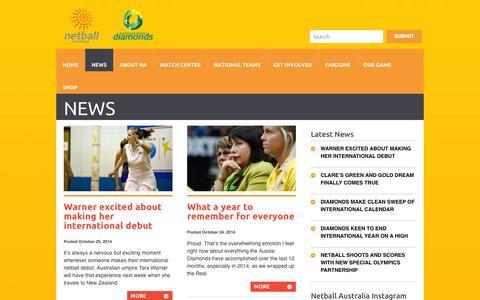 Screenshot of Press Page netball.com.au - Netball Australia | - captured Oct. 26, 2014