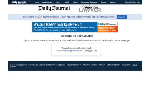 Screenshot of Signup Page dailyjournal.com - DailyJournal - captured Sept. 28, 2018