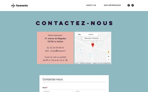 Screenshot of Contact Page forevents.fr - Forevents  | Contact - captured Aug. 19, 2018
