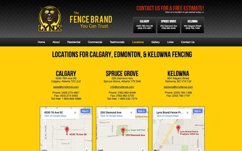 Screenshot of Locations Page lynxfence.com - Kelowna Fencing: Visit our Store Locations for Fencing Materials - captured Oct. 3, 2014