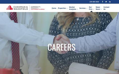 Screenshot of Jobs Page cpswfl.com - Careers - Cushman & Wakefield Commercial Properties Southwest Florida - captured Aug. 15, 2017