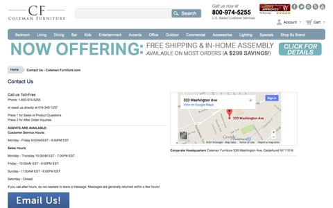Screenshot of Contact Page colemanfurniture.com - Contact Us - Coleman Furniture.com - captured Sept. 24, 2014