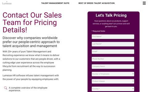 Screenshot of Pricing Page lumesse.com - Pricing Page | Lumesse - captured Aug. 4, 2018
