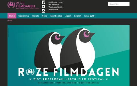 Screenshot of Home Page rozefilmdagen.nl - 2018 — Roze Filmdagen | Amsterdam LGBTQ Filmfestival - captured Oct. 20, 2018