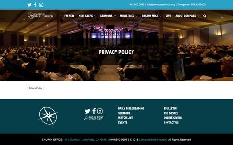 Screenshot of Privacy Page compasschurch.org - Privacy Policy | Compass Bible Church - captured Dec. 15, 2018