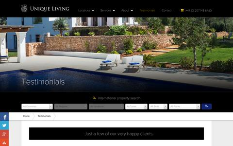Screenshot of Testimonials Page uniqueliving.com - Testimonials - Our Customers luxury experience - captured Sept. 19, 2014