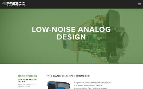 Screenshot of Case Studies Page prescoinc.com - Low-Noise Analog Design — Presco Inc. - captured July 21, 2018