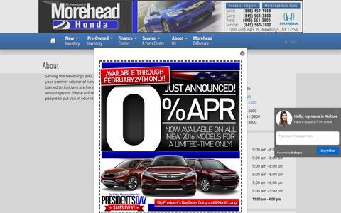 Screenshot of About Page moreheadhonda.com - Morehead Honda | New Honda dealership in Newburgh, NY 12550 - captured Feb. 28, 2016