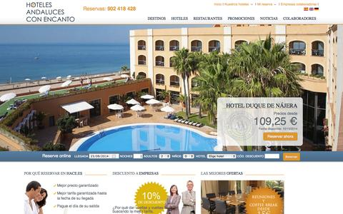Screenshot of Home Page hace.es - Hace Hoteles | Hoteles Andaluces con Encanto | Página Oficial - captured Sept. 23, 2014