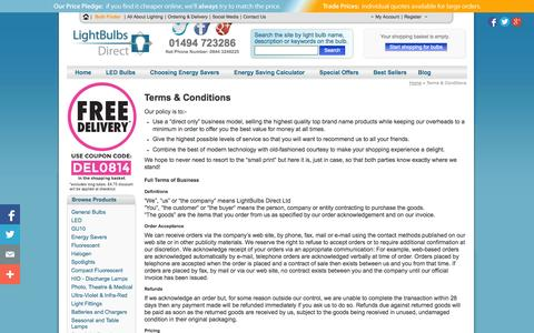 Screenshot of Terms Page lightbulbs-direct.com - Terms & Conditions —  Light bulbs, LED bulbs, halogen lamps, spot lights and tubes - captured Sept. 19, 2014