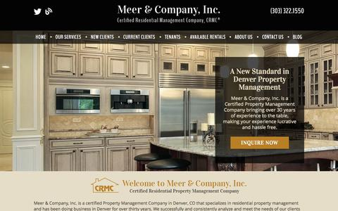Screenshot of Home Page meerandco.com - Denver Property Management and Property Managers, Denver Houses and Homes for Rent - captured Oct. 6, 2014
