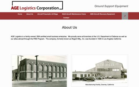 Screenshot of About Page agelogistics.com - About Us - AGE Logistics Corporation - captured Oct. 2, 2018
