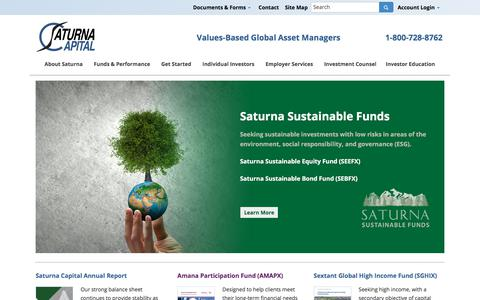 Screenshot of Home Page saturna.com - Saturna Capital | Values-Based Global Asset Managers - captured Oct. 4, 2017