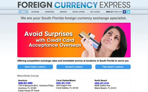 Screenshot of Home Page theforeigncurrencyexpress.com - We are your South Florida foreign currency exchange specialist. - captured Oct. 10, 2018
