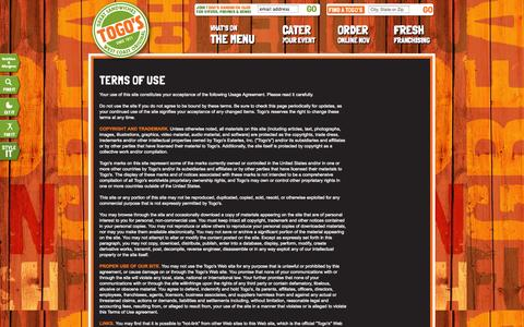 Screenshot of Terms Page togos.com - Togo's - Great Sandwiches - captured Sept. 25, 2014