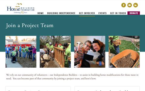 Screenshot of Signup Page hbfdenver.org - Join a Project Team | Home Builders Foundation - captured Sept. 29, 2018