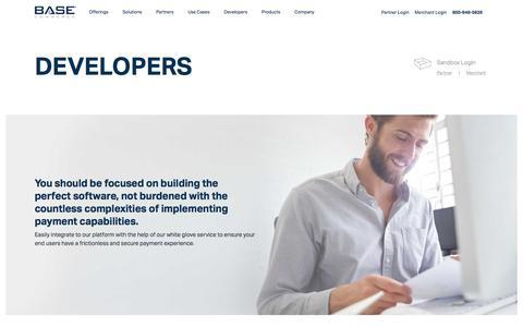Screenshot of Developers Page basecommerce.com - Prebuilt SDKs for Developers & ISVs – Base Commerce - captured April 19, 2018