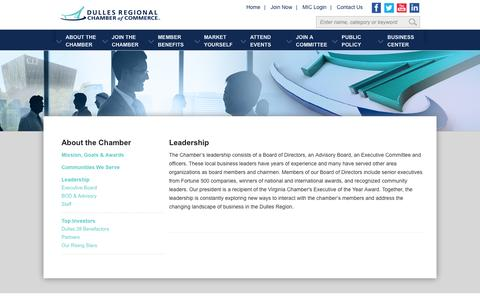 Screenshot of Team Page dullesregionalchamber.org - Dulles Regional Chamber of Commerce - Leadership - captured Oct. 6, 2014