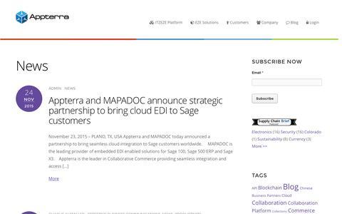 Screenshot of Press Page appterra.com - News Archives - Appterra Collaborative Commerce - captured Feb. 4, 2016