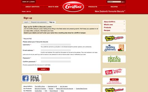 Screenshot of Signup Page griffins.co.nz - Sign up | Griffin's - captured Oct. 3, 2014